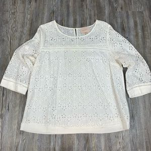 Skies Are Blue Eyelet Lace Blouse Size XL